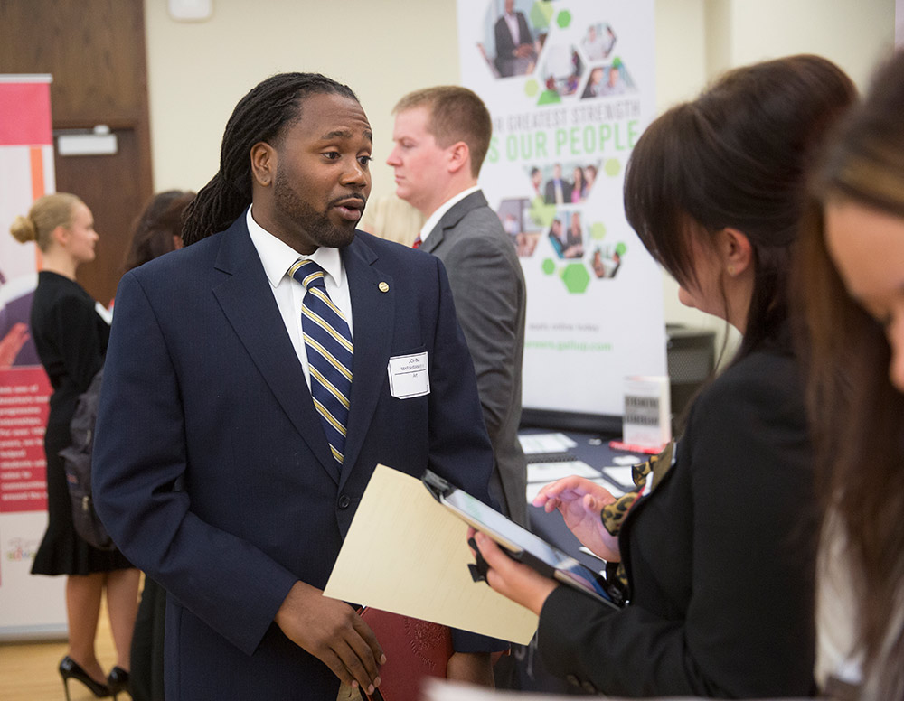 Student at Career Fair event