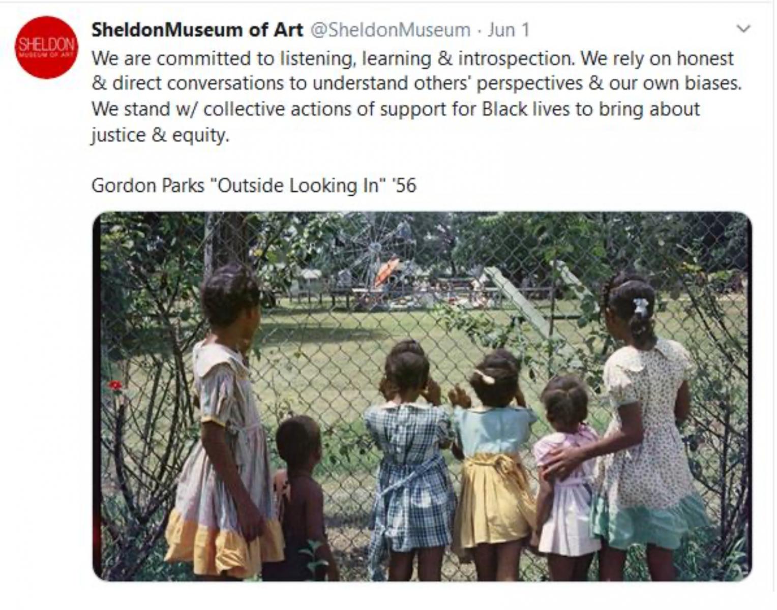 Screenshot of Sheldon Museum of Art statement.