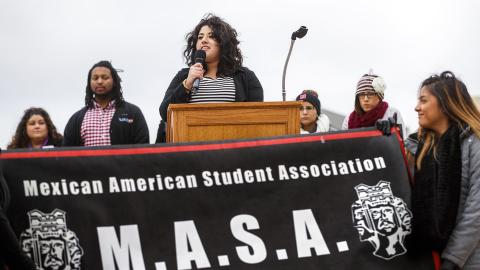 Members of the university's Mexican American Student Association talk during a rally on the Nebraska Union Plaza in November 2016. The student group is holding a series of Chicano awareness events the week of April 9.