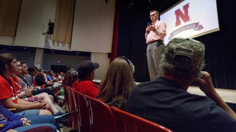 Chancellor Ronnie Green talks during a First Husker orientation session.