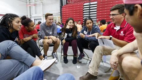 Nebraska students participate in Husker Dialogies, a diversity and inclusion event facilitated by more than 370 faculty, staff and student conversation guides, and held Sept. 6, 2017.
