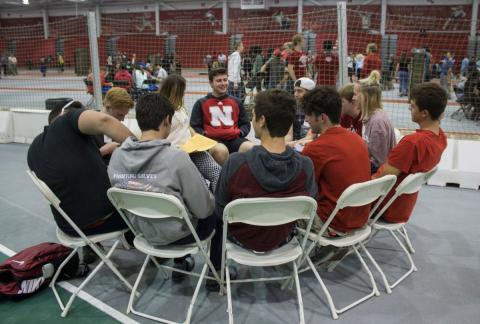 Freshmen discuss diversity at Husker Dialogues at the Bob Devaney Sports Center on Aug. 6, 2017, in Lincoln, Nebraska. Photo by Sydney Irlbeck,  Daily Nebraskan
