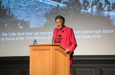 On October 12, 2017, UNL's UPC hosts Carlotta Walls, member of the Little Rock Nine, in the Nebraska Union. In September of 1957, Carlotta and eight others integrated Little Rock Central High School in Little Rock, Arkansas. Photo by Peyton Stoike of the Daily Nebraskan
