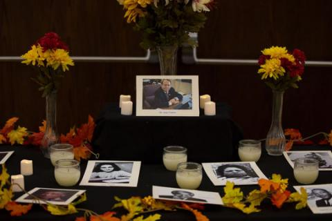 Former Vice Chancellor Juan Franco is celebrated in an altar for Dia de los Muertos in the Nebraska Union on Nov. 5, 2017, in Lincoln, Nebraska. The event was hosted by the Mexican American Student Association and had multiple altars put together by different groups on campus. Photo by Elsie Stormberg