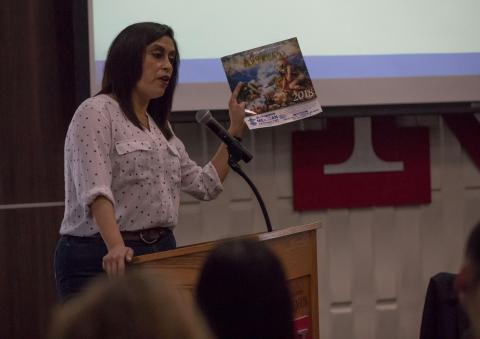 Isabel Velázquez, a UNL professor of modern languages and literature, speaks to the audience at the Translating Women, Translating Feminism in a Globalized World panel discussion on April 12, 2018, at the Nebraska Union, in Lincoln, Nebraska.
