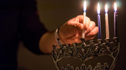A menorah is lit for the third night of Hanukkah on Tuesday, Dec. 4, 2018, in Lincoln, Nebraska. | Daily Nebraskan