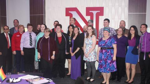 Participants and honorees at the 2017 Lavender Graduation at the University of Nebraska-Lincoln.