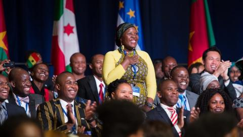 Mandela Washington Fellows applauding at a 2015 group summit