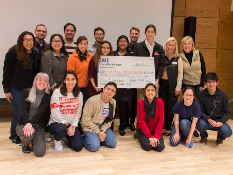 Winners of the 'Pitch A Program' competition, members of Define American, Latino Graduate Student Assembly & Society for Hispanic Professional Engineers