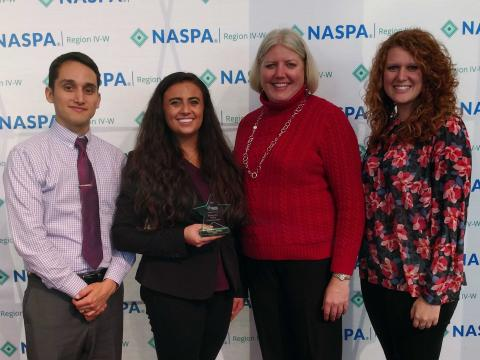 NASPA Undergraduate Rising Star recipient Brianna Ridenour with her three nominators, Moi Padilla, Veronica Riepe and Samantha Kennelly.