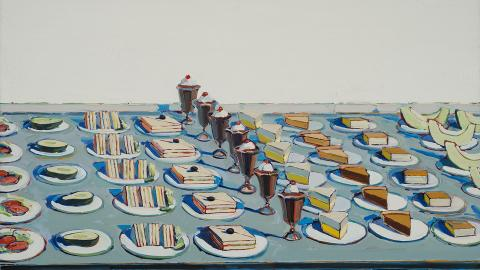 """Salads, Sandwiches, and Desserts"" by Wayne Thiebaud is on display at Sheldon Museum of Art through July 14."