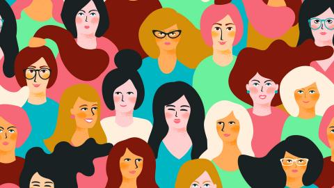 Cartoon drawing of many women
